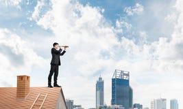 Capo di signor sul tetto del mattone alla ricerca di qualche cosa di nuovo Media misti Immagini Stock