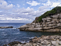 Capo di Sorrento. A viewpoint on the coast of Italy at Sorrento with a ruined Roman Villa Stock Photo