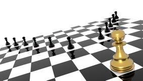 Capo eccezionale di andvantage del pegno dorato competitivo di scacchi - rappresentazione 3d royalty illustrazione gratis