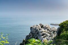 Capo Elizabeth Maine e l'Oceano Atlantico fotografie stock