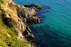 Capo Fiolent in Crimea Mar Nero, bello paesaggio di giorno fotografie stock libere da diritti