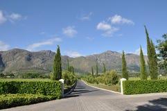 Capo Franschhoek Sudafrica della proprietà del vino fotografia stock