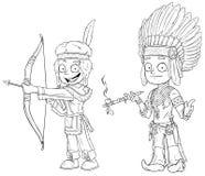 Capo indiano del fumetto con il giovane insieme di vettore del carattere del guerriero del tubo illustrazione vettoriale