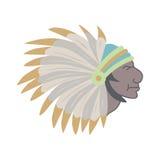Capo indiano del nativo americano con il copricapo della piuma Immagini Stock Libere da Diritti