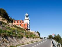 Sea lighthouse of Capo Mele royalty free stock photos