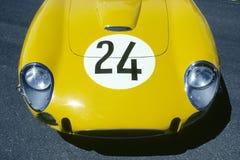 Capo motor amarillo del coche Imágenes de archivo libres de regalías