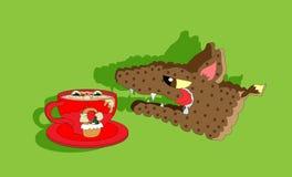 Capo motor de montar a caballo rojo y lobo hambriento ilustración del vector