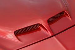 Capo motor rojo del coche de deportes Fotografía de archivo