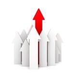 Capo rosso della freccia del gruppo concetto di achivement di affari Immagini Stock