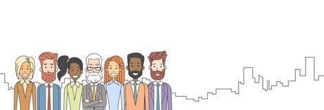 Capo senior degli uomini d'affari con il gruppo di gente di affari del gruppo illustrazione vettoriale