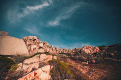 Capo Testa bizarre rock formations. Capo Testa rocky shoreline, Sardinia stock photography