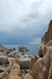 Capo Testa, Sardinige stock afbeelding