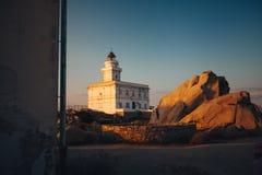 Capo Testa white lighthouse. Sardinia royalty free stock photo