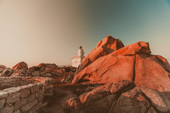 Capo Testa white lighthouse. Sardinia stock image