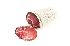 Capocollo. Appetizing smoked ham on white Stock Photo