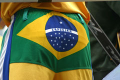 Capoeira. Trousers with Brazil flag Royalty Free Stock Images