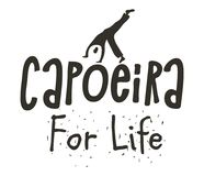 Capoeira Brazilian dance of African origin poster. Capoeira Brazilian dance logo of festival origin poster, martial art and dance form with acrobatic movements Royalty Free Stock Images