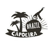 Capoeira Brazilian dance of African origin poster. Capoeira Brazilian dance logo of African origin poster, martial art and dance form with acrobatic movements Stock Images