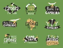 Capoeira Brazilian fighting dance. Traditional activity with music, acrobatics and martial arts elements, movements and fighting contest. Vector flat style Stock Photography