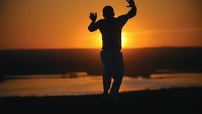 Capoeira d'arts martiaux, saut acrobatique de main-à-pied, setsun, au ralenti banque de vidéos