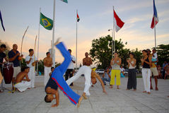 Capoeira dance performance. Capoeira dance at sunset on independence square Stock Photos