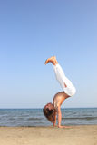 Capoeira dancer on the beach Royalty Free Stock Photography