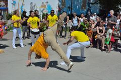 Capoeira dancers in performance at festival in gent Stock Images