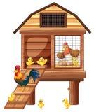 Capoeira de galinha com muitos pintainhos ilustração stock