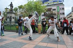 Capoeira demonstration in the streets of La Paz. Royalty Free Stock Image