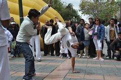 Capoeira demonstration in the streets of La Paz. Royalty Free Stock Images