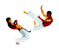 Capoeira fighters. Kick and defense isolated Royalty Free Stock Photography