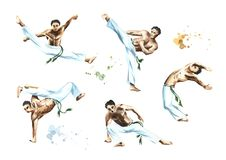 Capoeira fighters set, isolated on white background. Concept about people, lifestyle and sport. Watercolor hand drawn illustration.  Stock Photos