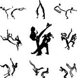 Capoeira fighters vector. Set of sketched black capoeira fighters Royalty Free Stock Photos