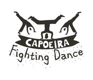 Capoeira fighting dance. Banner for sport combining rhythmic dance, martial-arts, and acrobatic movements. Vector flat style black and white illustration Stock Images