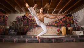 Capoeira Flying Kick Royalty Free Stock Photography