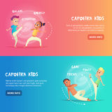 Capoeira kids banner for web design. Children are engaged in training capoeira movement. Cartoon concept vector Royalty Free Stock Photo