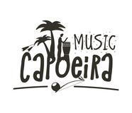 Capoeira music poster. Capoeira music logo. Traditional rhythm, style of play, and drum tune energy of a brazil game with instruments, clapping, and singing Stock Images