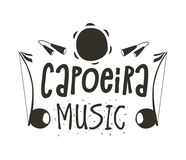 Capoeira music poster. Capoeira music logo. Traditional rhythm, style of play, and drum tune energy of a brazil game with instruments, clapping, and singing Royalty Free Stock Photo