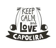 Capoeira music poster. Capoeira music logo. Traditional rhythm, style of play, and drum tune energy of a brazil game with instruments, clapping, and singing Stock Image