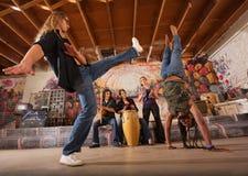 Capoeira Performers Kicking Royalty Free Stock Photos