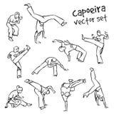 Capoeira set. Vector set of contour silhouettes capoeira fighting Royalty Free Stock Photography