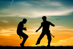 Capoeira at sunset Royalty Free Stock Images