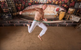 Capoeira Twisting Kick Stock Image