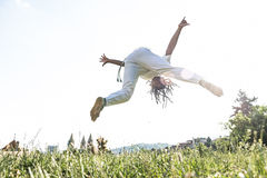 Capoeira woman, awesome stunts in the outdoors Royalty Free Stock Images
