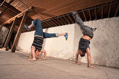 Capoeria Artists Perform Headstands Royalty Free Stock Photography