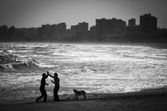 Capoira sur la plage Photo libre de droits