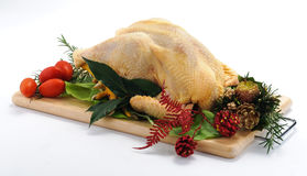 Capon on cutting board of Christmas Royalty Free Stock Photography