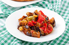 Caponata with raisins and pine nuts Stock Photo