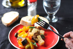 Caponata typical italian dish with potato Stock Photo