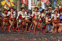 Caporales Dancer Group - Arica, Chile. Caporales dancers in ornate costumes performing at the annual Carnaval Andino con la Fuerza del Sol in Arica, Chile stock photos